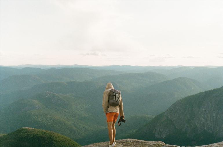 Man in Quebec mountains