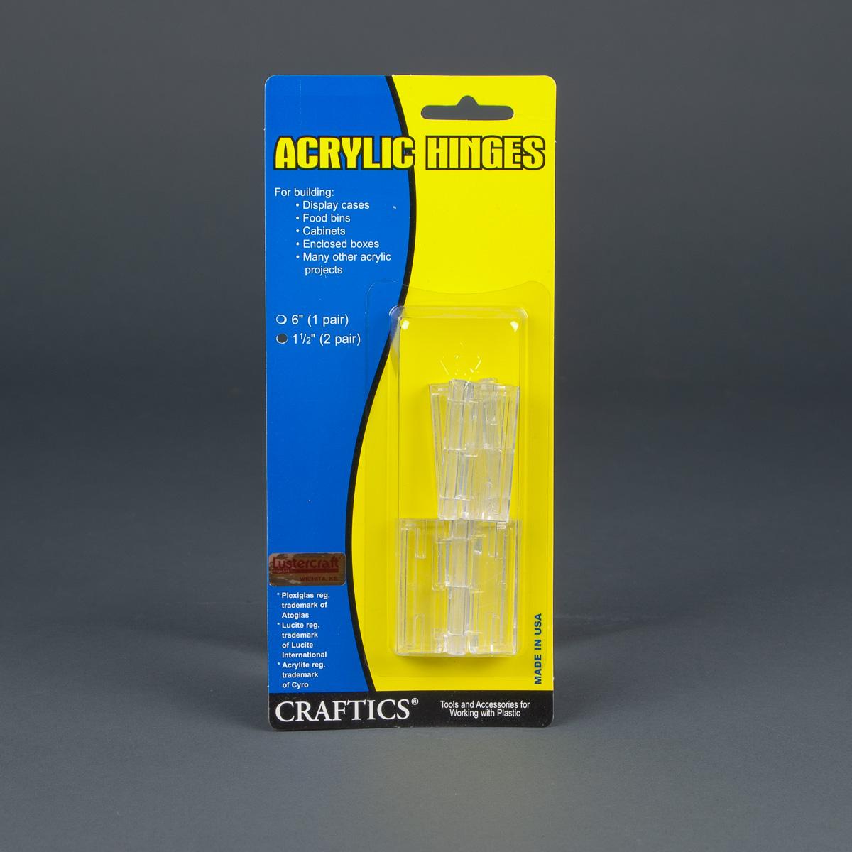 Plasti-Hinge Clear Acrylic 2 Pair Pack