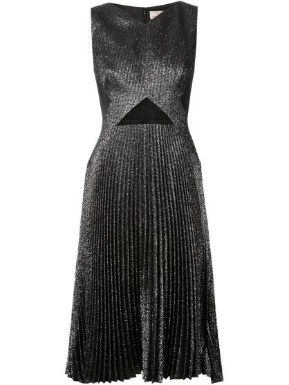 Lela Rose Pleated Glitter Dress