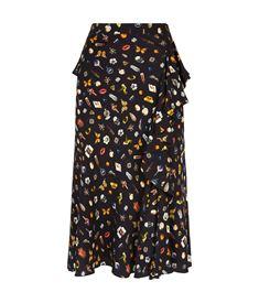 Alexander McQueen Obsession Ruffled Split Hem Midi Skirt