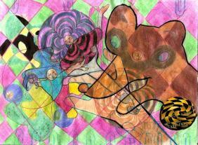 colagem; aquarela; caneta de ponta de feltro,lápis -de-cor