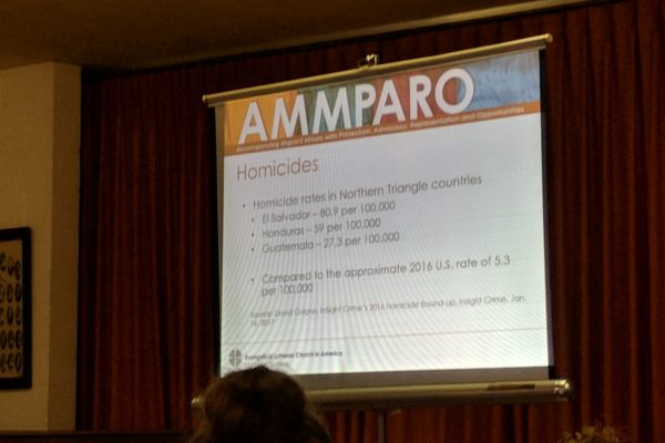 Part of Mary Campbell's immigration presentation at Encuentro 2018