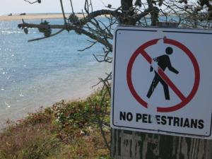 Danger Man not walking on scary cliff