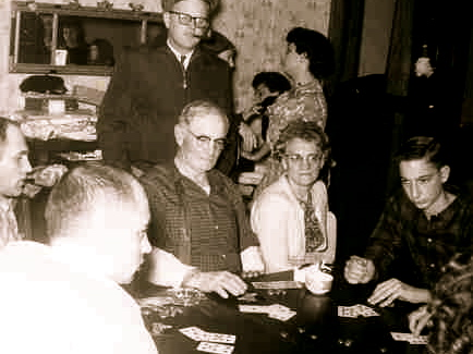 Grampa Henry (that's Gramma H next to him), ready to check his poker hand.