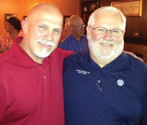 Westside VW Service Director Bob Cozatt, left and retired Service Manager John Olson.