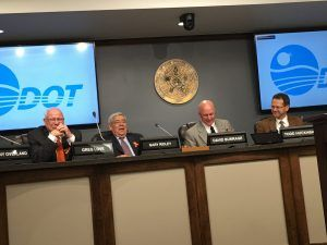 Sec. Ridley, Director McCaleb and ODOT Board Chair Burrage at the May ODOT meeting.