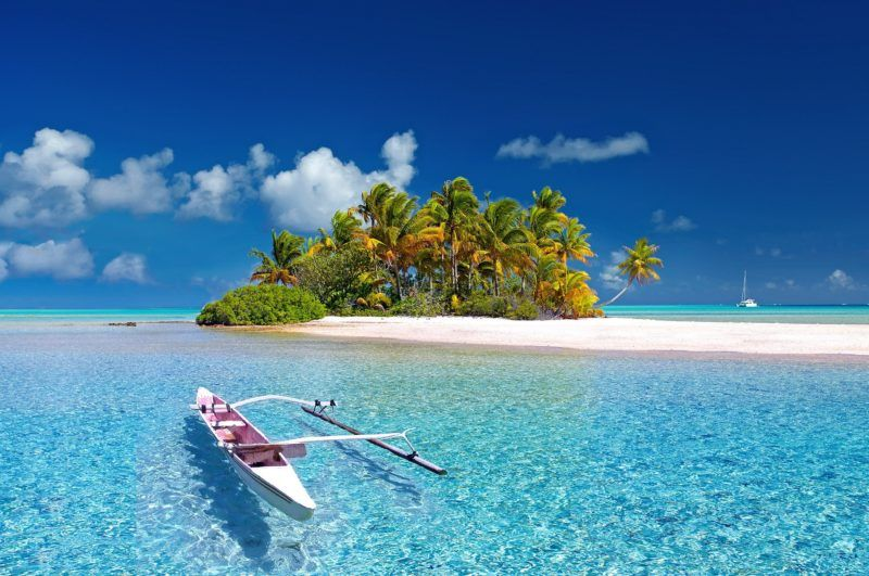 # fiji polynesia water island and boat
