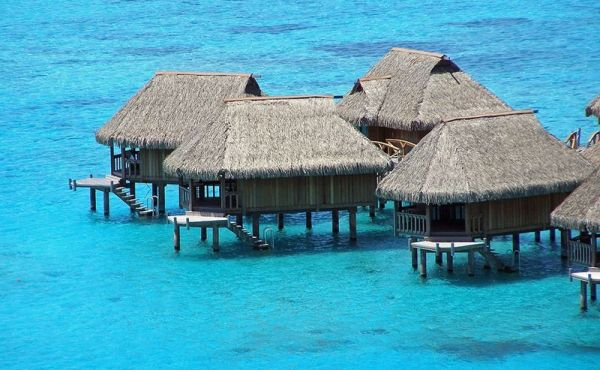 moorea-huts-med on tropical water
