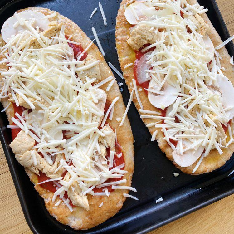 volkoren pizza met vega kip