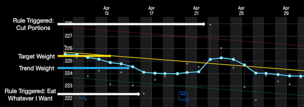 A chart of Andrew's weight loss in April 2016, showing how he adhered to simple rules to stay on track.