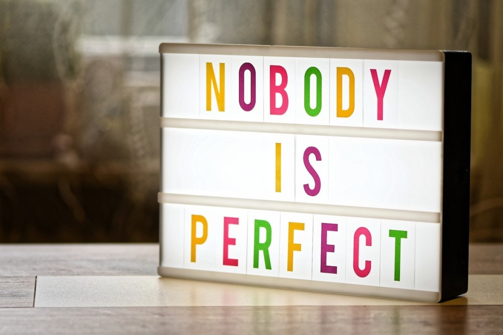 sign: nobody is perfect