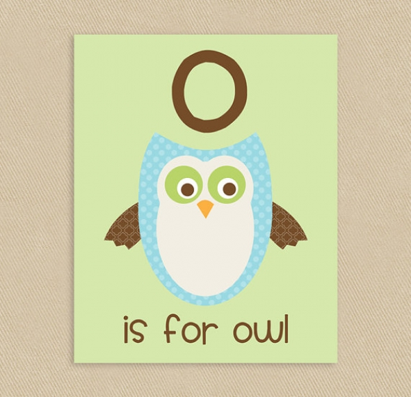 O Is For Owl Wall Art Wall Art Children Wall Art Luvly