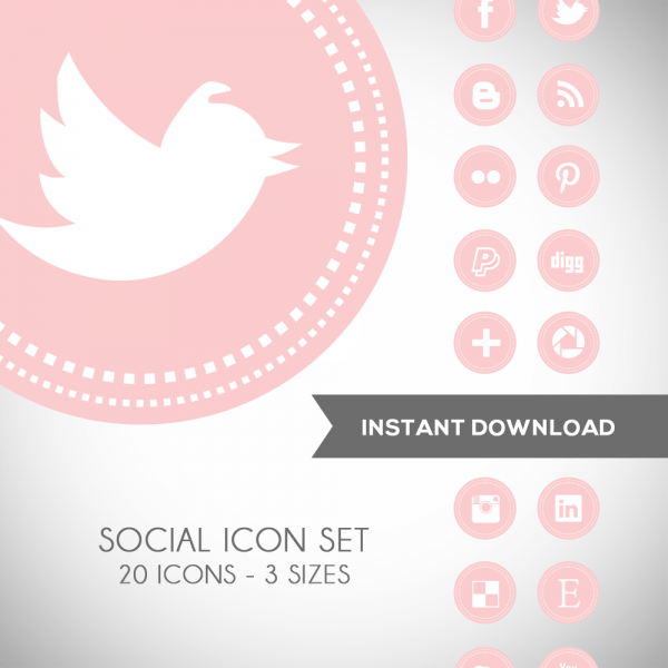 Soft Pink Social Media Icons Web Icons Luvly