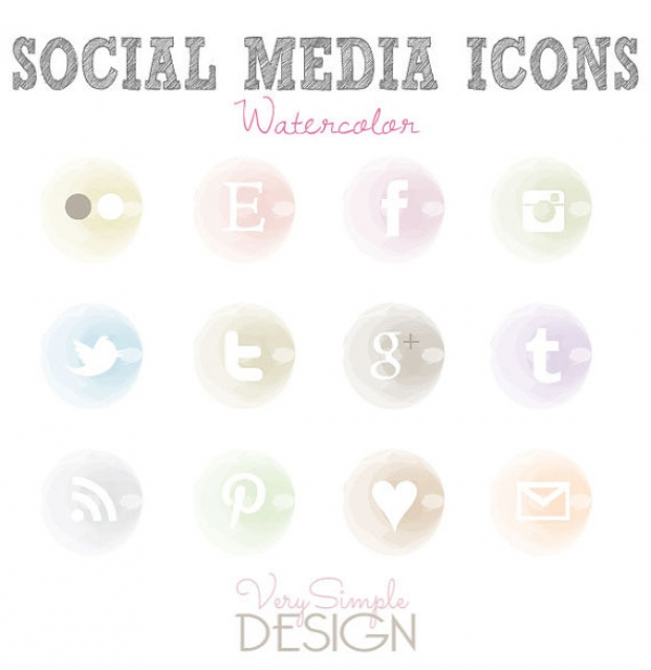 Watercolor Social Media Icons Web Icons Luvly