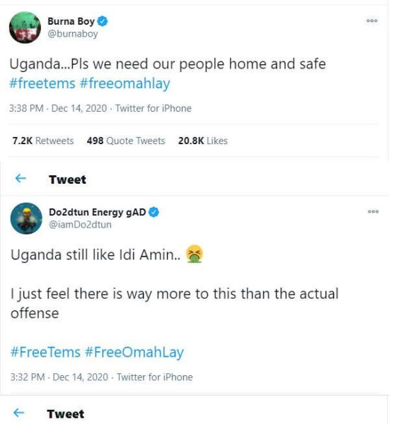 Runtown, Burna Boy and others call for the release of Omah Lay and Tems following reports that they have been remanded in prisons for flouting COVID-19 guidelines in Uganda