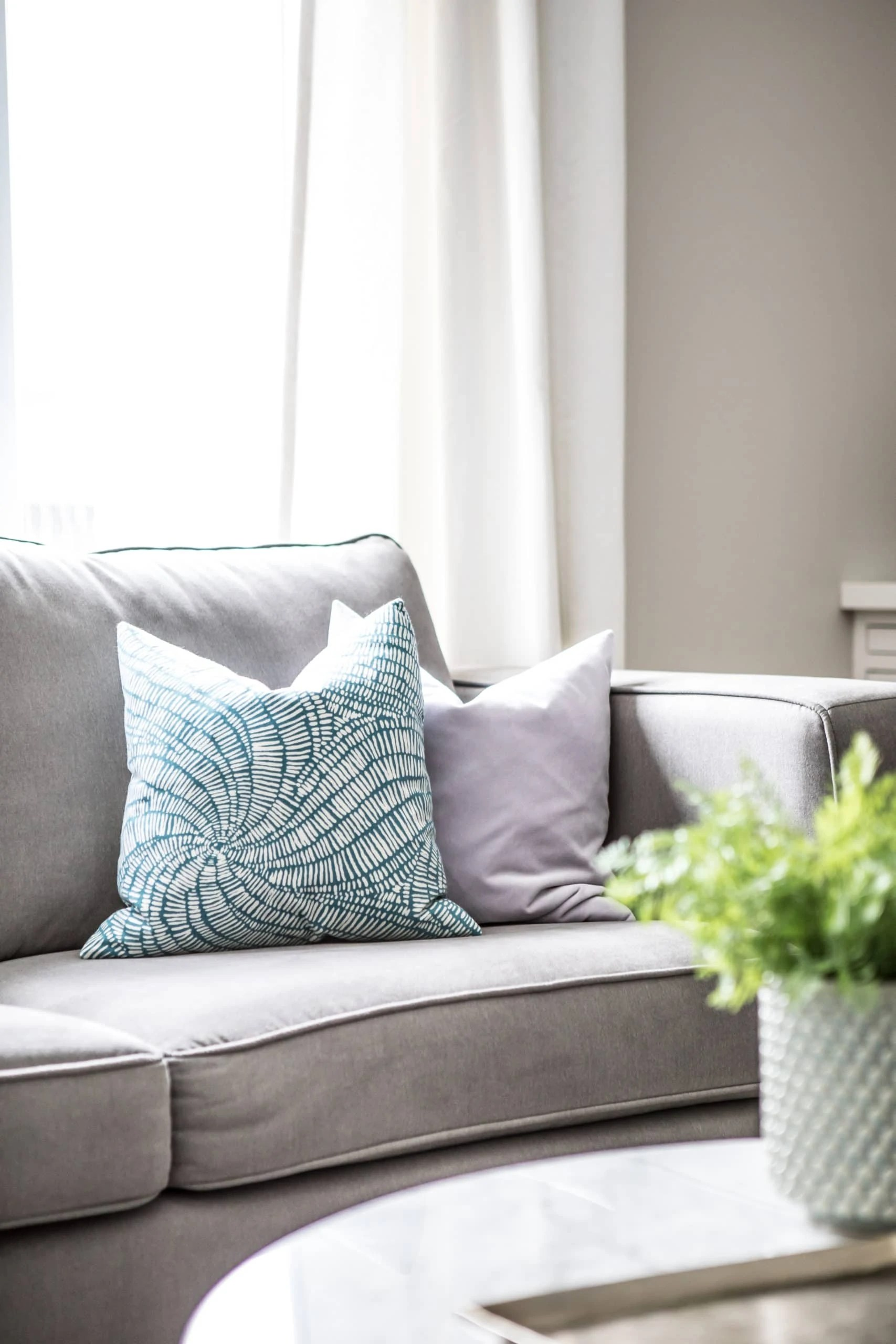 Pillows on a grey couch within a living room