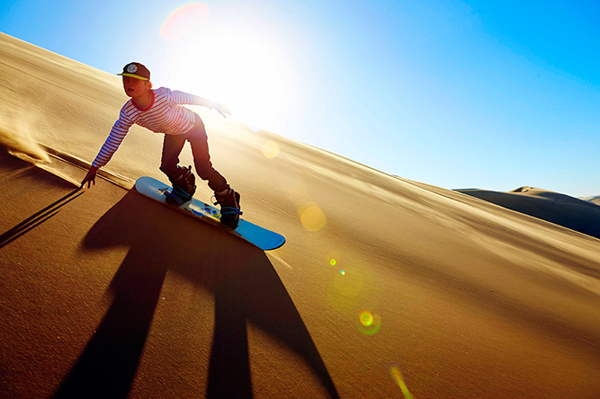 Sand-boarding Namibia