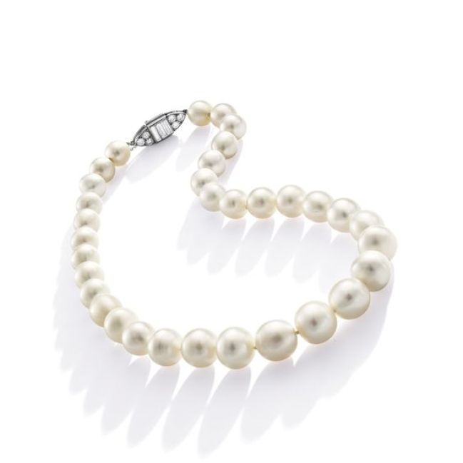 Rare and Fine Natural Pearl and Diamond Necklace, One Cultured