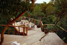 #4 Tsala Treetop Lodge: South-Africa If you're looking for an experience fit for a king, ultra-luxury and fine fare can be found at five-star Tsala Treetop Lodge (tsala.hunterhotels.com). This architectural masterpiece offers world class service and breathtaking views in the Western Cape. All accommodations blend into a forest canopy, ranging from 10 Treetop Suites with a private deck and infinity pool to six Treetop Villas with the aforementioned, along with two en suite bedrooms.Eat, drink and sleep in treetops – it's the epitome of a forest palace. Elegant sitting rooms, fireplaces, floor heating, 24 hour room service, complimentary Wi-Fi and the option of enjoying your meal from a dining deck suspended above the forest floor. The list goes on and on – you will want for nothing.Photo Credit: Dook Photography