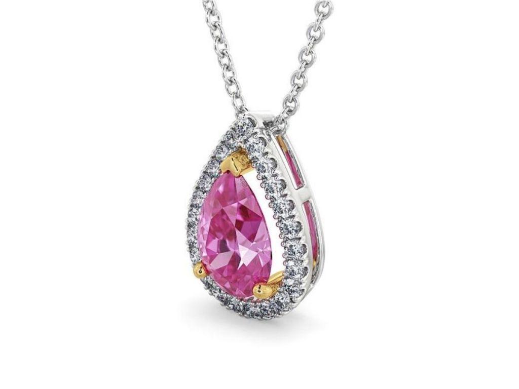 Vivid pink pear pendant