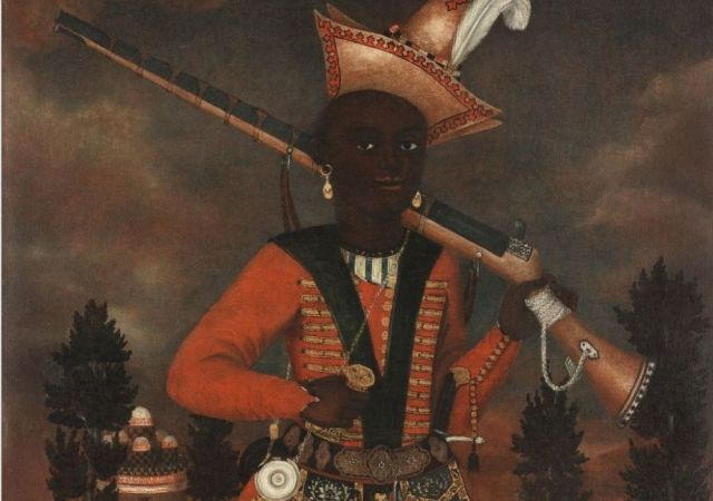 A rare Safavid oil painting of an African soldier Persia