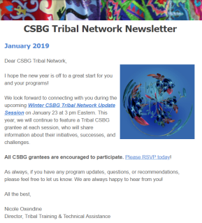 January 2019: CSBG Tribal Network Newsletter. Cover Page