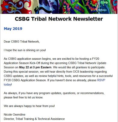 Welcome Article of the May 2019 CSBG Tribal Network Newsletter