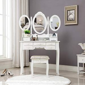 HONBAY Trifold Mirrors Makeup Vanity Table Set, Cushioned Stool