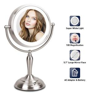 LED Lighted Makeup Mirror, 10X Magnifying Makeup Mirror with Lights