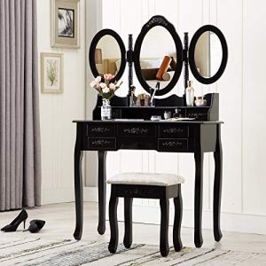HONBAY Trifold Mirrors Makeup Vanity Table Set