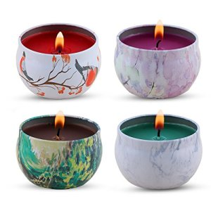 KitchenGynti Scented Candles Gift Set - Lavender, Rose, Tea Tree and Peppermint