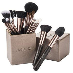 SIXPLUS 15Pcs Coffee Makeup Brush Set with Makeup Holder