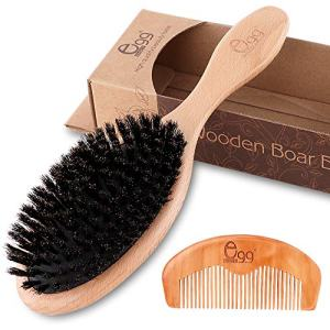 BLACK EGG Boar Bristle Hair Brush with Wooden Paddle for Thin