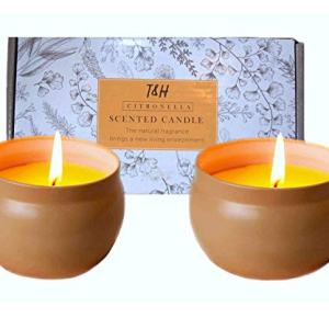 Citronella Candles Outdoor Indoor Portable Travel tin 2 Pack Gift Set