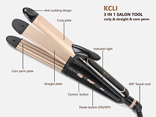 KCLI 3 in 1 Hair Styler Curling Iron&Flat Iron&Corn Perm Plate