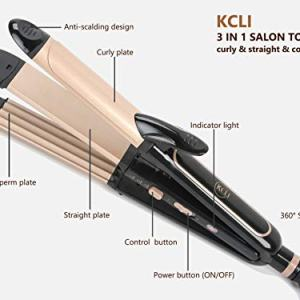 KCLI 3 in 1 Hair Styler Curling Iron&Flat Iron&Corn Perm Plate