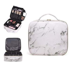 R&R Beauty Luxury White Marble Travel Makeup Bag Train Case
