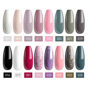 MEFA 18 Pcs Soak Off Gel Nail Polish, 16 Colors Gel + 1 Base Coat
