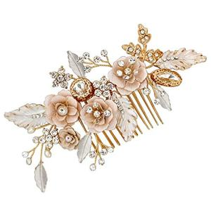 LovShe Gold Bridal Hair Accessories Flower Hair Comb Bride Hair Accessories