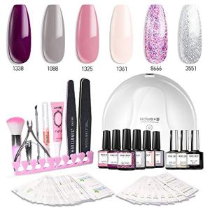 Modelones Gel Nail Polish Kit with UV Light - 4 Elegant Colors and 2 Glitter Gel