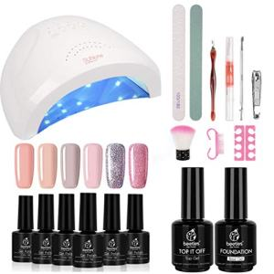 Beetles Gel Nail Polish Starter Kit with 48W UV/LED Light Nail Lamp Base Top Coat