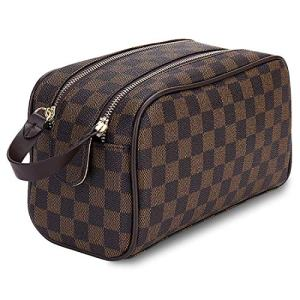 Luxury Checkered Cosmetic Bag Two-Zipper Make Up Bag PU Leather Toiletry
