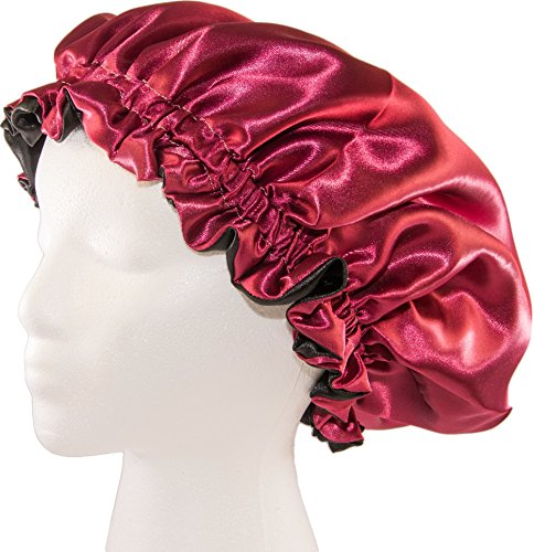 """(X-Large, BURGUNDY) New 24"""" Handmade Fully Reversible Our satin sleep caps are 100% handmade and nice for individuals with braids, dreadlocks, or to be used with rollers or flexi-rods. Roughly 24 inches in diameter and Elastic measures 20 inches earlier than it's all sewn collectively. Made within the USA with 100% pure satin whose properties embody moisture retention, prevention of hair loss and minimization of rigidity and stress on the hair, scalp and pores and skin. This satin bonnet comes each lovely and trendy. That is the BEST in satin hair safety for you! Improve your nightly hair routine with this GORGEOUS satin bonnet!"""