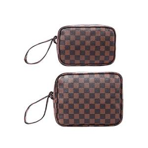 CIEN Luxury Checkered Pattern Make Up Bag PVC Leather Travel