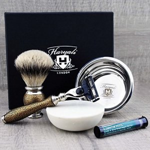 Luxury Men's Shaving & Grooming Set >Top Grade Silver Tip Badger Brush
