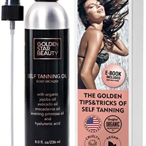 Self Tanner - Sunless Tanning Oil, Organic Spray Tan w/Hyaluronic Acid