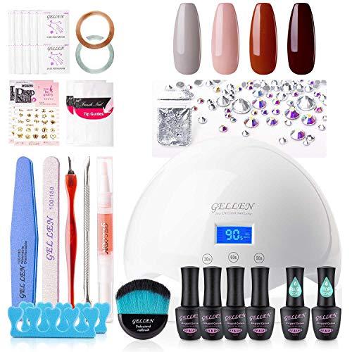 Gellen Gel Nail Starter Kit With 24W Dryer UV Light, Elegance Gray