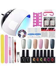 Gelongle 6 Colors Gel Polish Starter Kit 24W LED UV Nail Dryer Curing Lamp