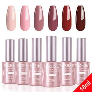 MIZHSE Gel Nail Polish Set- 18ml 6 Bottles Trendy Red Soak Off Nail Gel