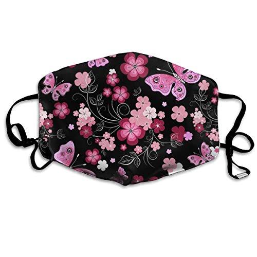 Face Masks, Breathable Dust Filter Masks Medical Mask Mouth Cover Masks with Elastic Ear Loop (Black Red Flower)